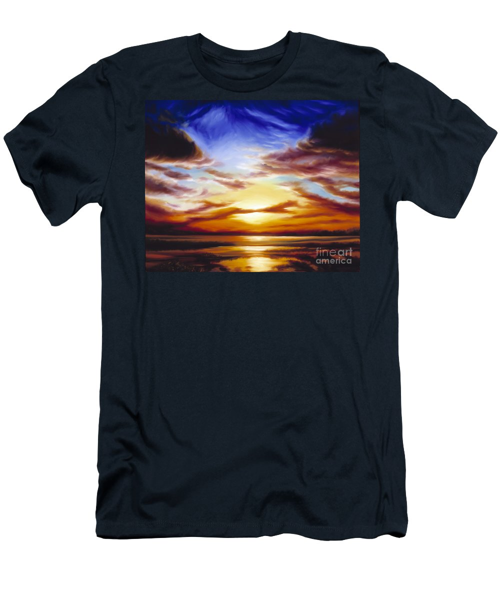 Skyscape Men's T-Shirt (Athletic Fit) featuring the painting As The Sun Sets by James Christopher Hill