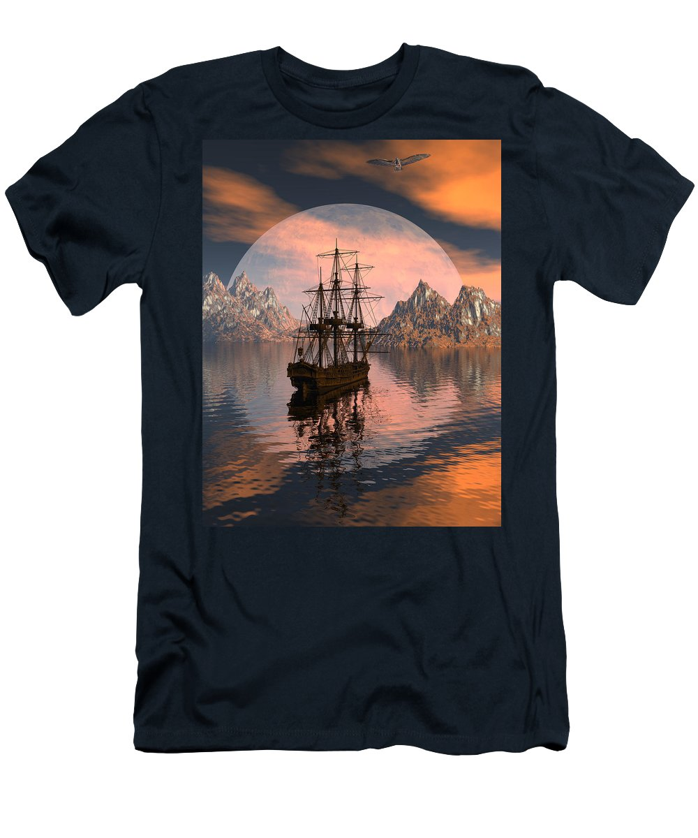 Bryce 3d Digital Fantasy Scifi Windjammer Sailing Men's T-Shirt (Athletic Fit) featuring the digital art At Anchor by Claude McCoy