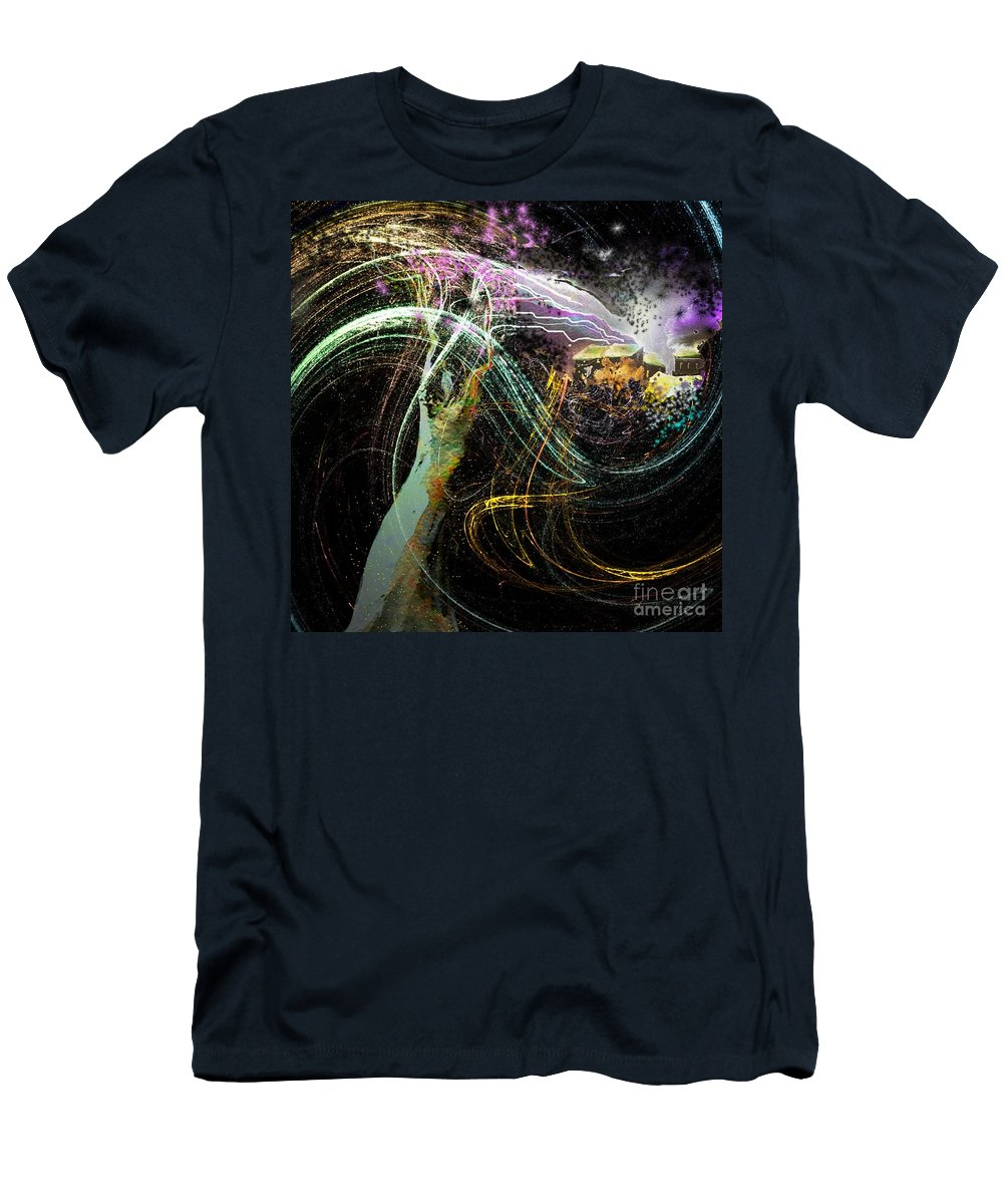 Fantasy Men's T-Shirt (Athletic Fit) featuring the painting At The End Of The Cosmos by Miki De Goodaboom