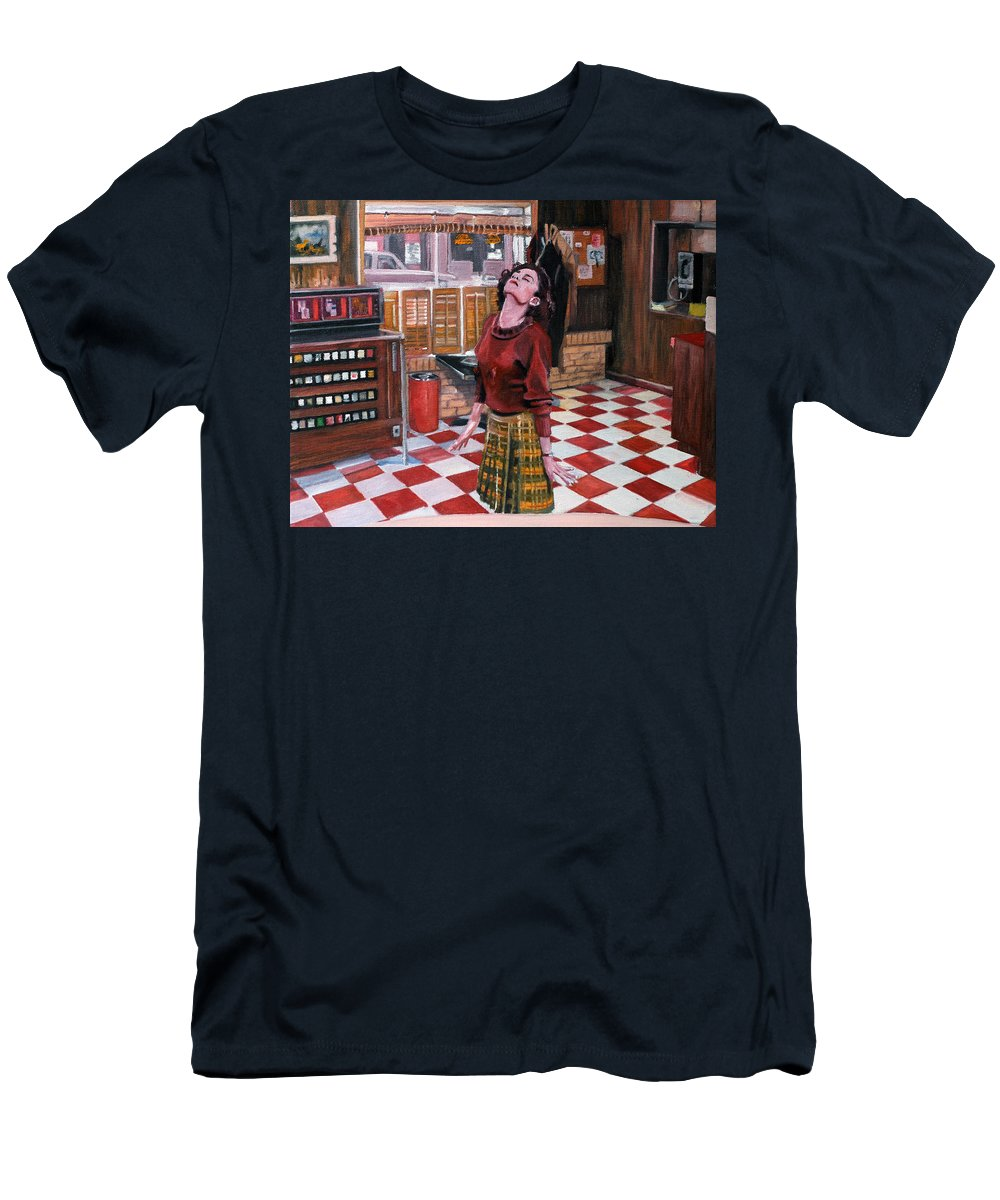 Twin Peaks Men's T-Shirt (Athletic Fit) featuring the painting Audrey Horne Twin Peaks Resident by Kevyn