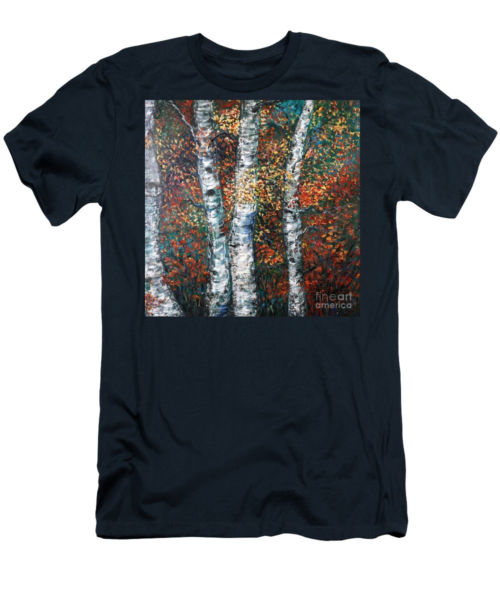 Birch Men's T-Shirt (Athletic Fit) featuring the painting Autumn Birch by Nadine Rippelmeyer