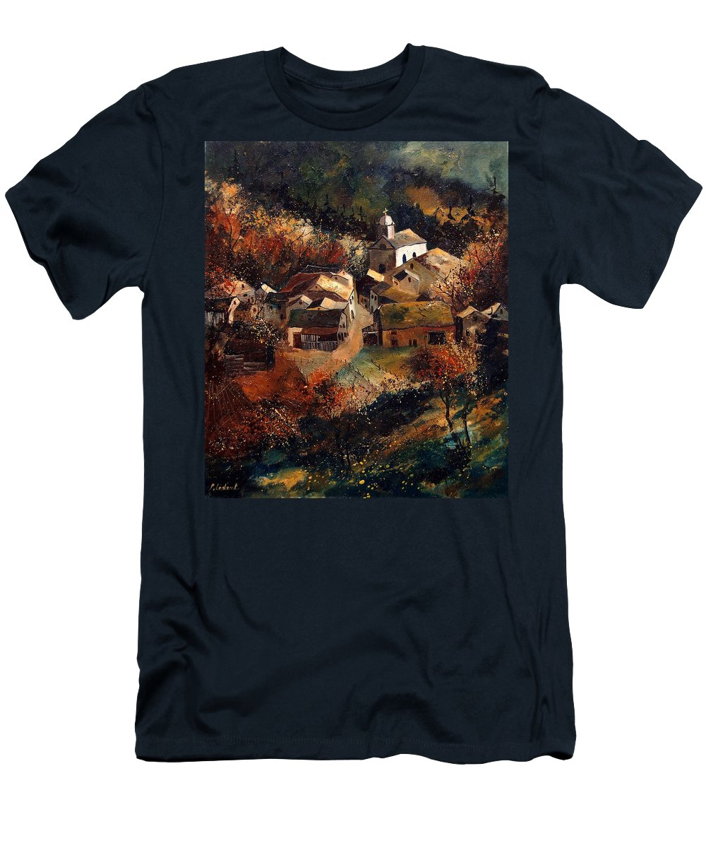 Tree Men's T-Shirt (Athletic Fit) featuring the painting Autumn In Frahan by Pol Ledent