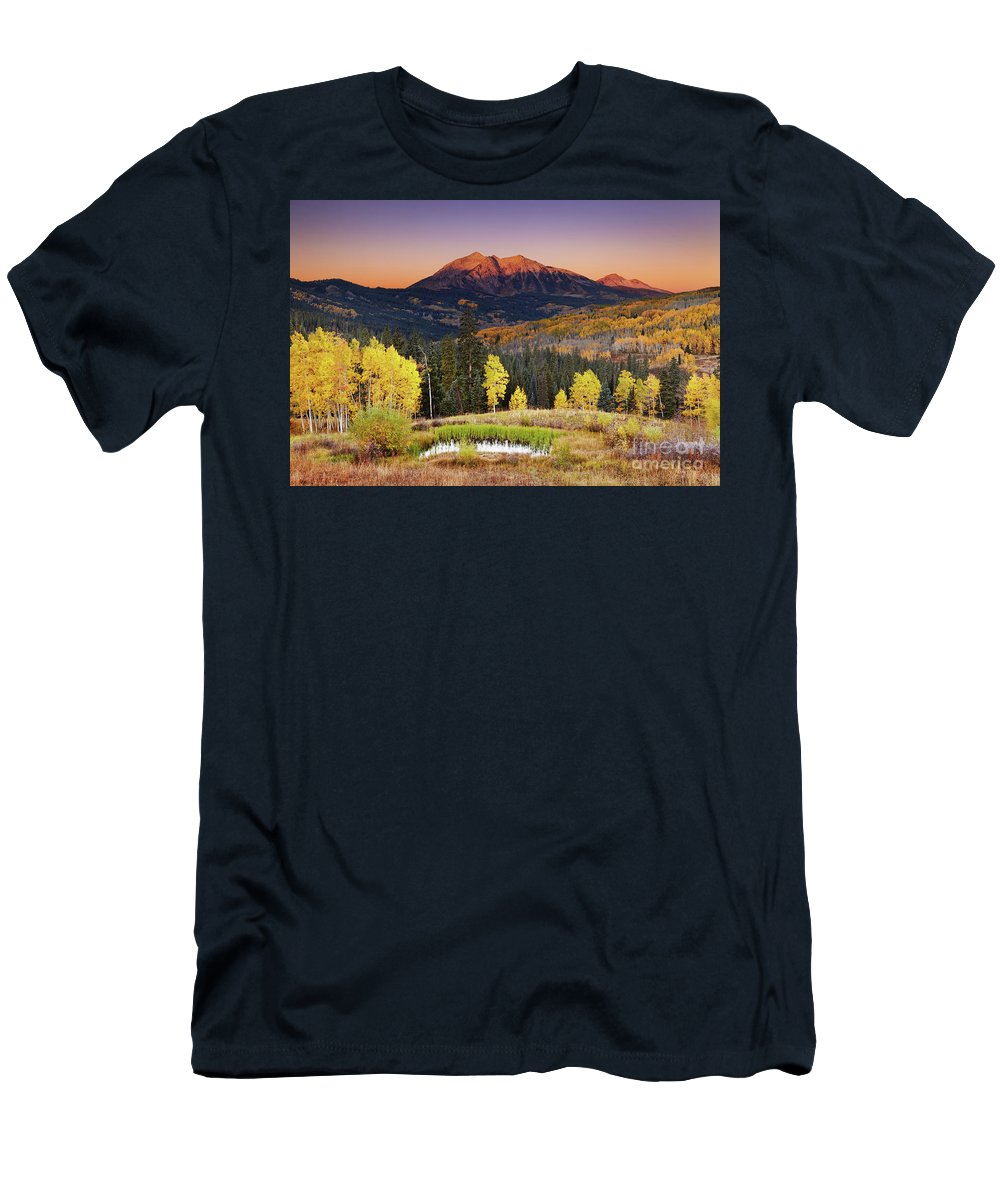America Men's T-Shirt (Athletic Fit) featuring the photograph Autumn Mountain Landscape, Colorado, Usa by Dmitry Pichugin
