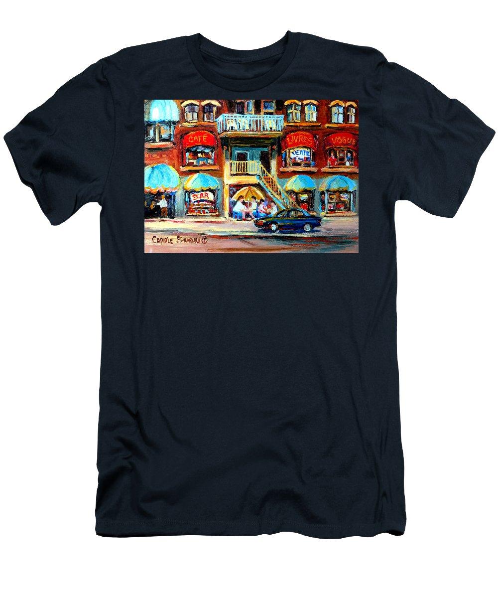 Cafes Men's T-Shirt (Athletic Fit) featuring the painting Avenue Du Parc Cafes by Carole Spandau