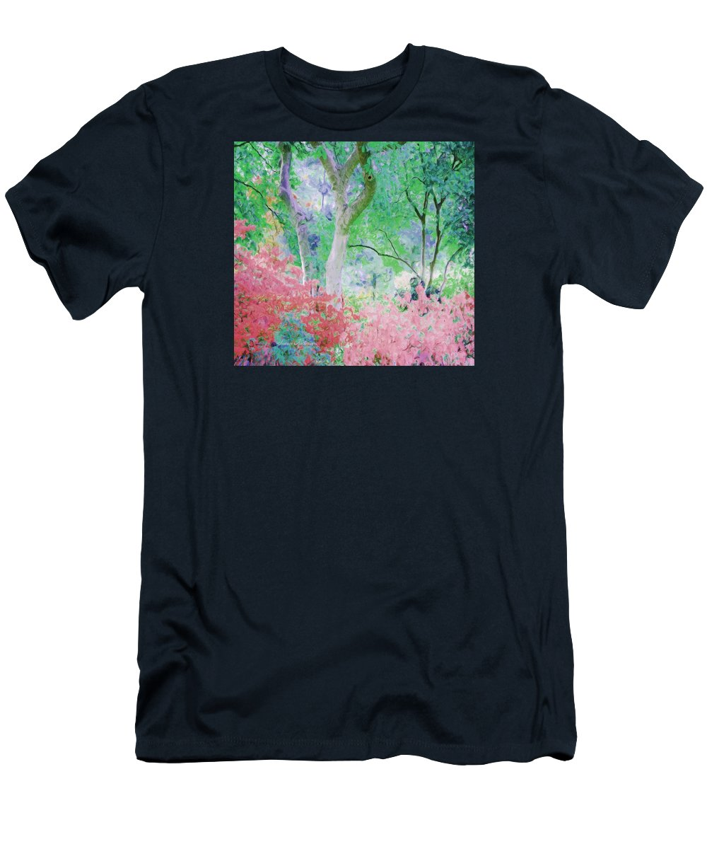 Flowers Men's T-Shirt (Athletic Fit) featuring the painting Azalea Flowers And Tree Coral by Susanna Katherine