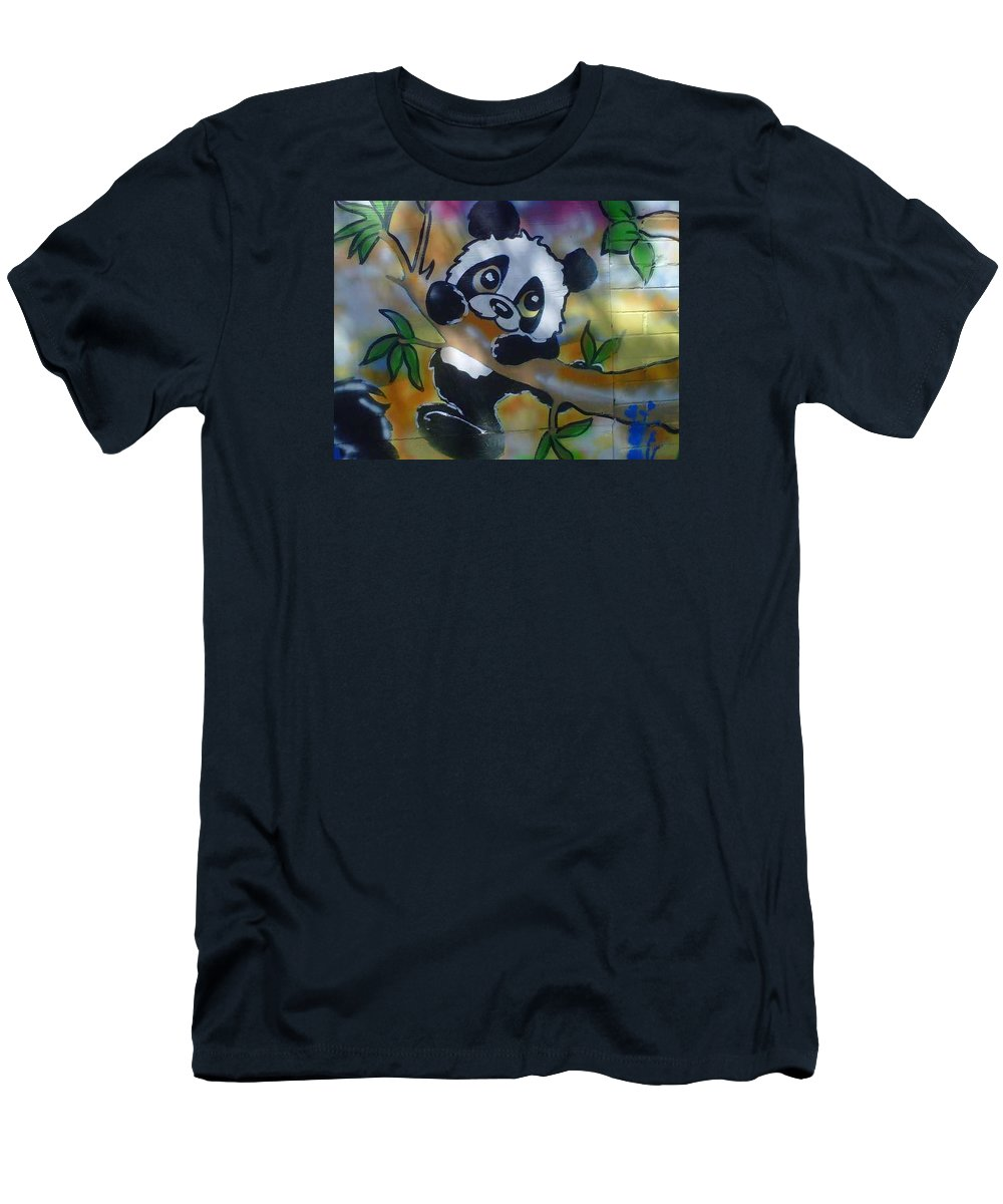 Baby Panda Men's T-Shirt (Athletic Fit) featuring the painting Baby Panda by Sylvester Wofford