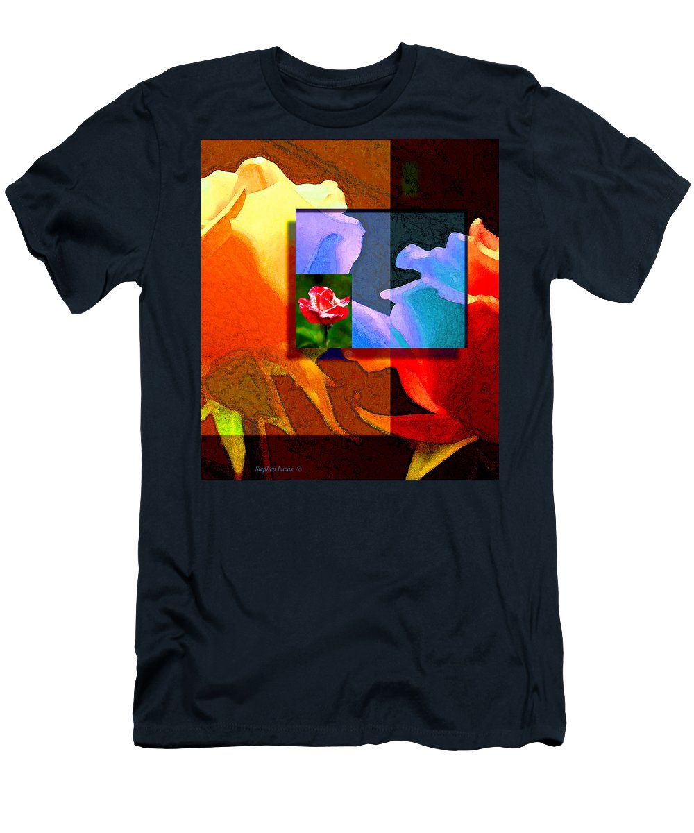 Modern Men's T-Shirt (Athletic Fit) featuring the digital art Backlit Roses by Stephen Lucas
