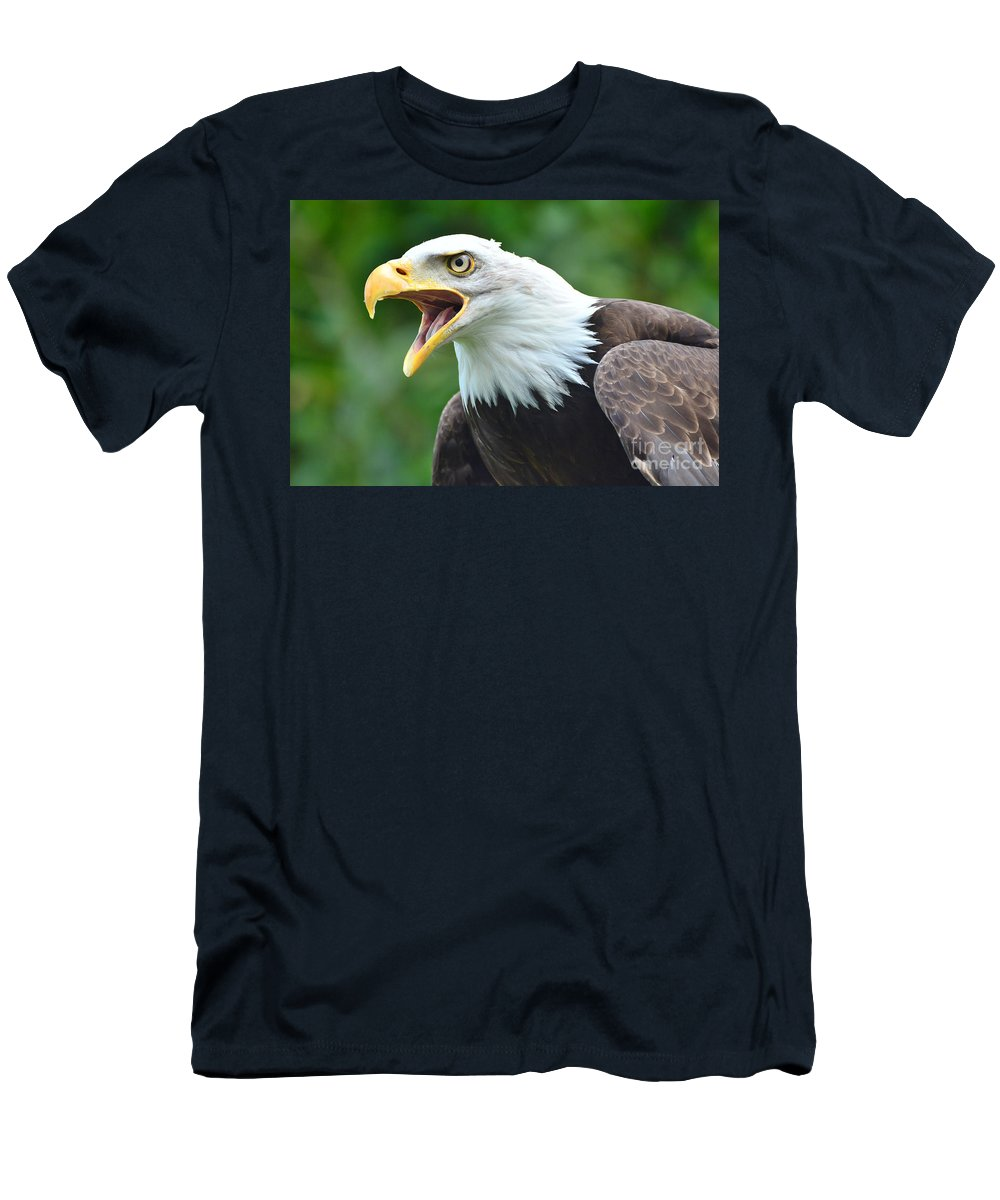 Bald Eagle Men's T-Shirt (Athletic Fit) featuring the photograph Bald Eagle Close Up by Paul Cummings