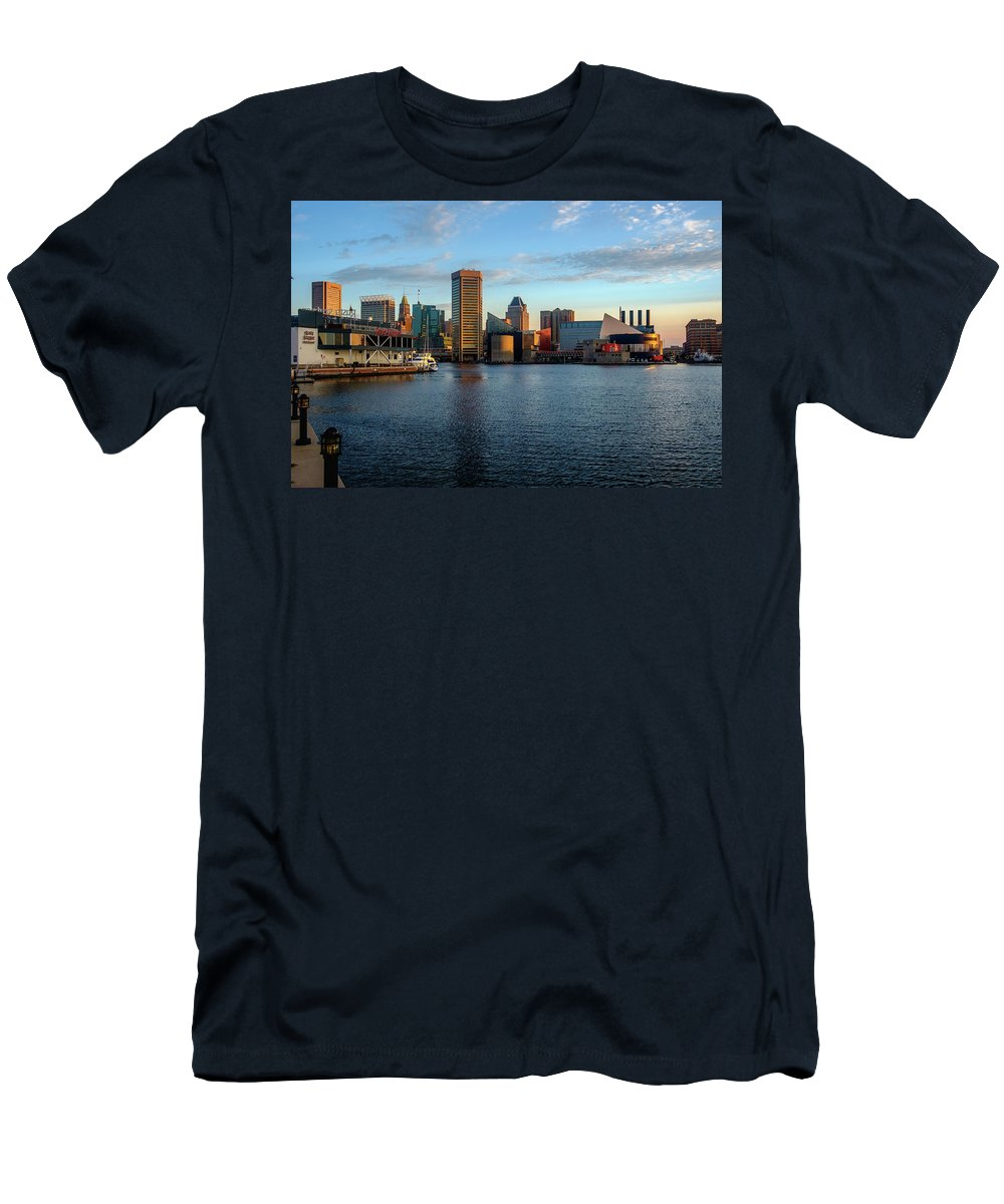 2017 Men's T-Shirt (Athletic Fit) featuring the photograph Baltimore Inner Harbor Sunrise by Jim Archer