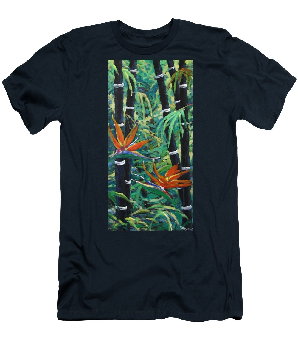 Bamboo Men's T-Shirt (Athletic Fit) featuring the painting Bamboo And Birds Of Paradise by Richard T Pranke