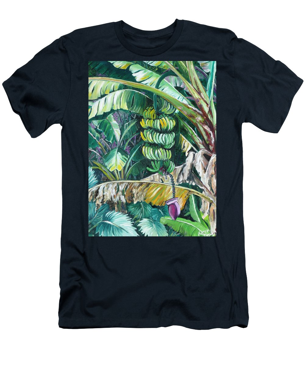 Caribbean Painting Bananas Trees P Painting Fruit Painting Tropical Painting Men's T-Shirt (Athletic Fit) featuring the painting Bananas by Karin Dawn Kelshall- Best