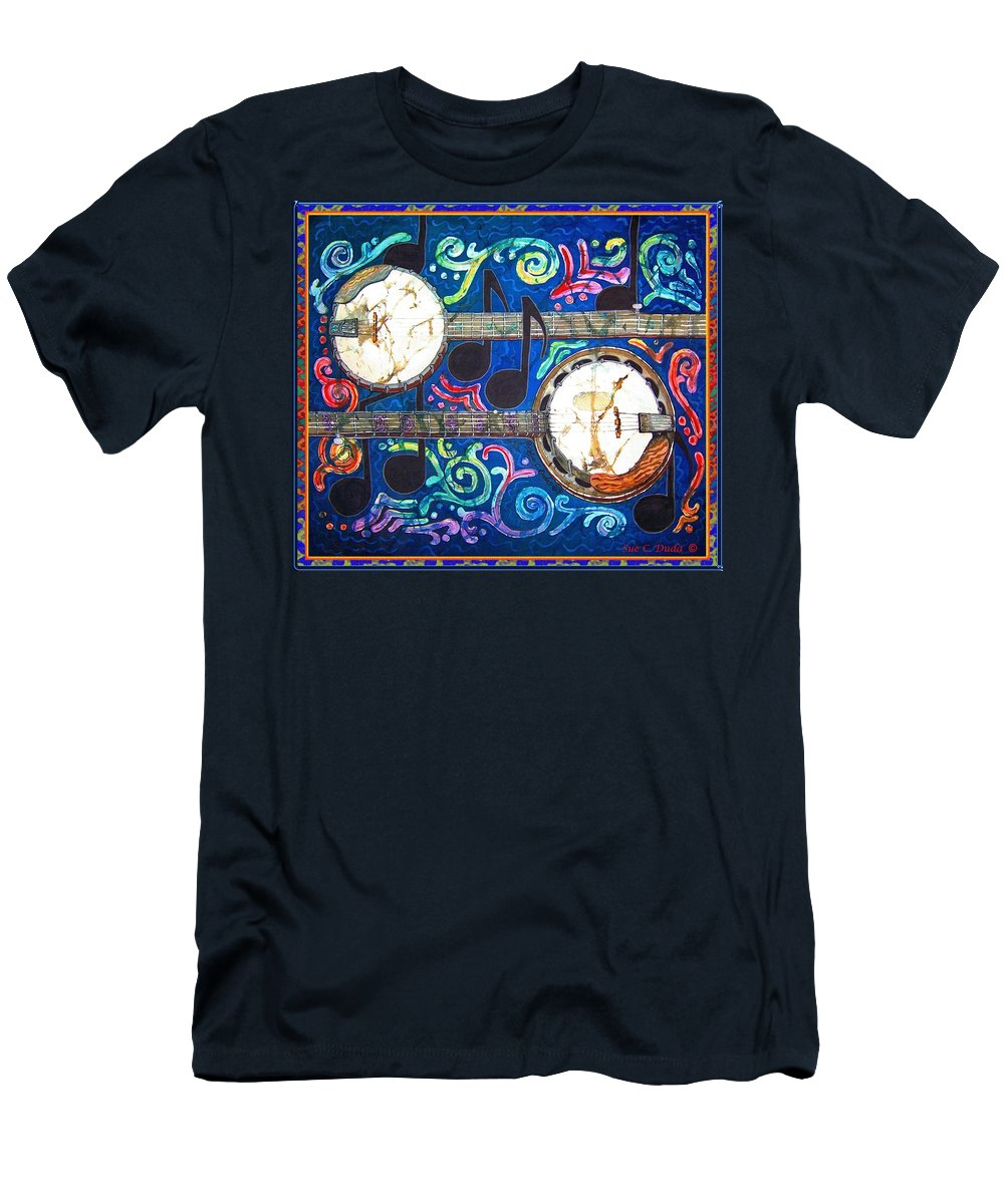 Banjo Men's T-Shirt (Athletic Fit) featuring the painting Banjos - Bordered by Sue Duda