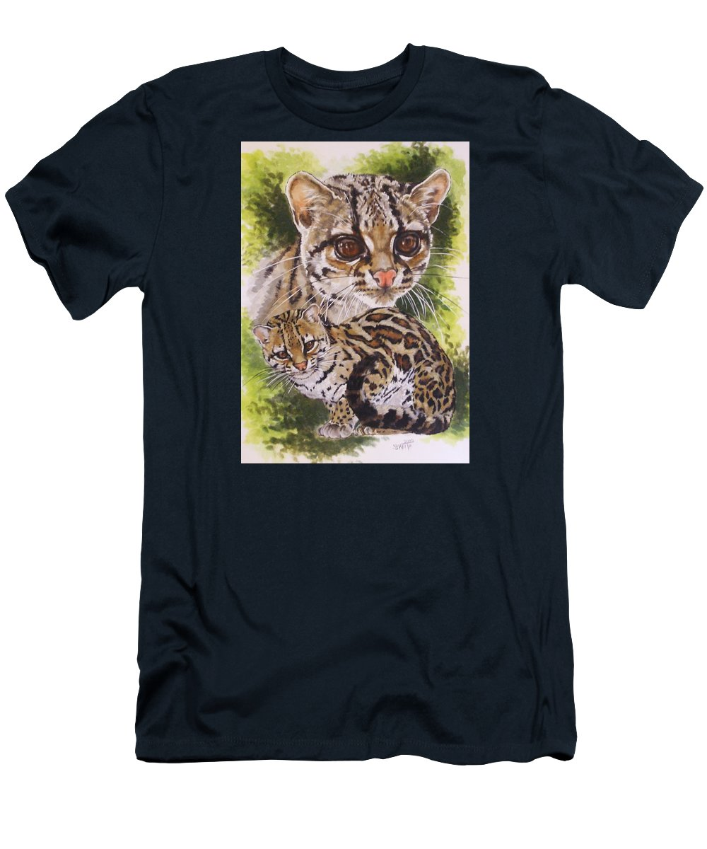 Margay Men's T-Shirt (Athletic Fit) featuring the mixed media Bantam by Barbara Keith