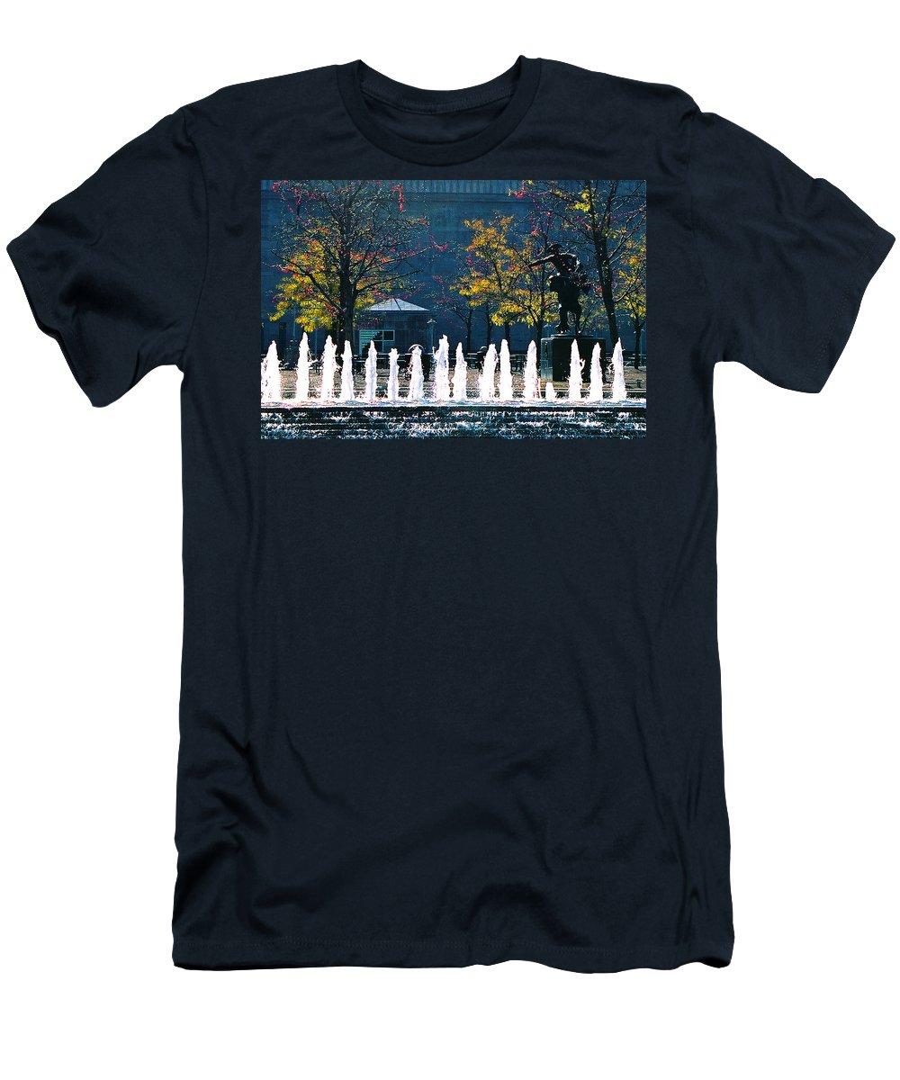Landscape Men's T-Shirt (Athletic Fit) featuring the photograph Barney Allis Plaza-kansas City by Steve Karol