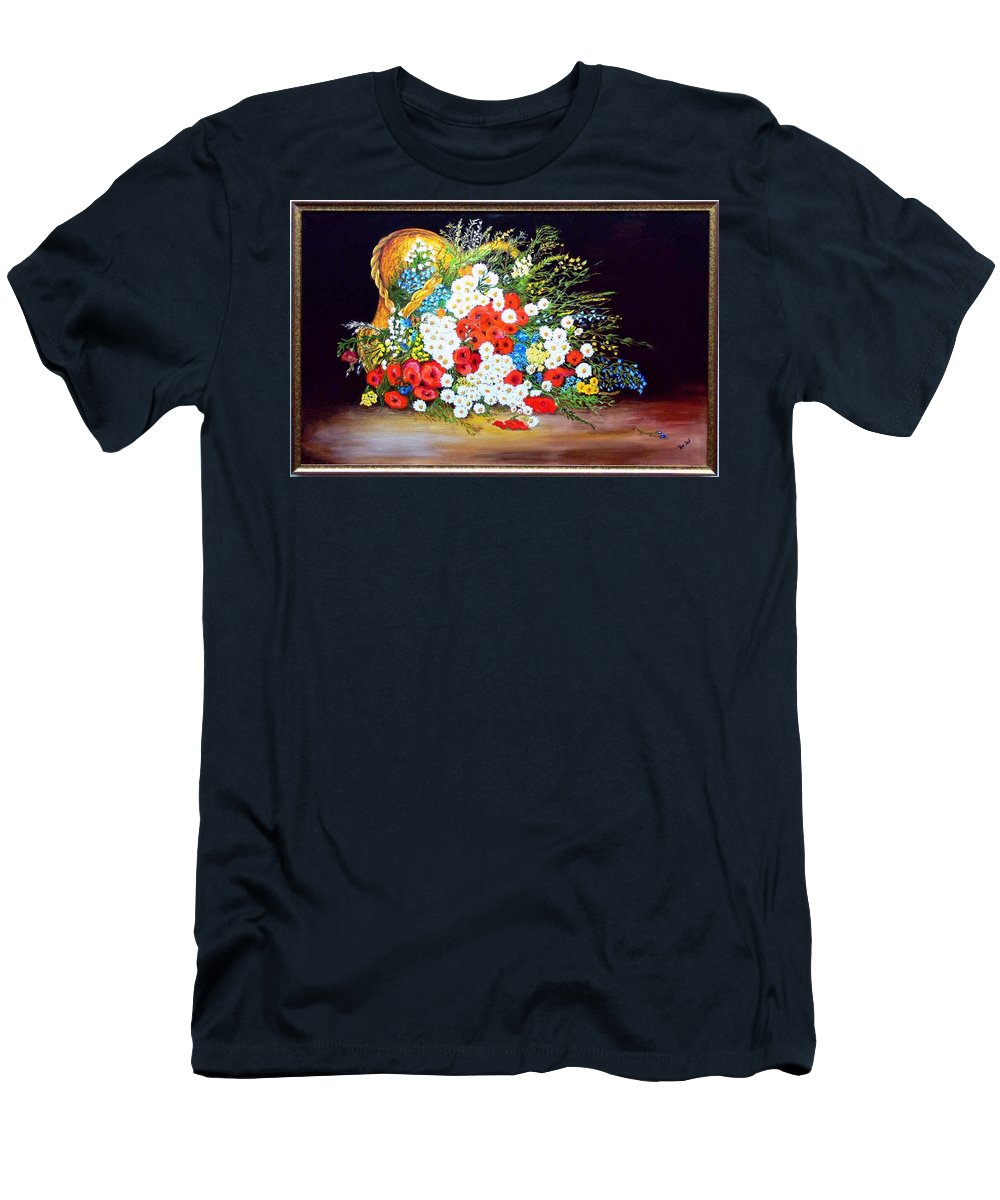 Summer T-Shirt featuring the painting Basket with summer flowers by Helmut Rottler