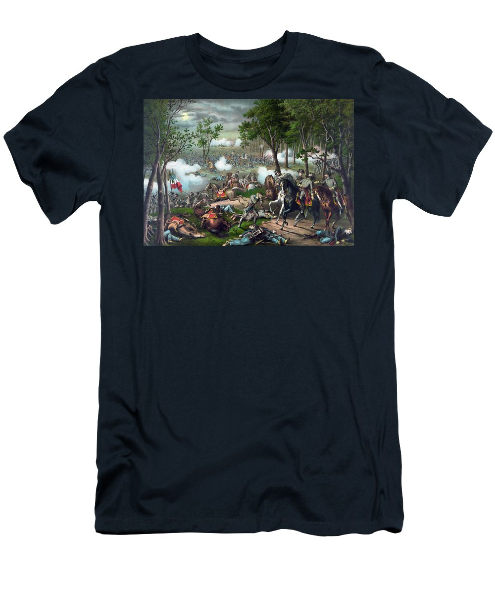 Civil War Men's T-Shirt (Athletic Fit) featuring the painting Battle Of Chancellorsville - Death Of Stonewall by War Is Hell Store