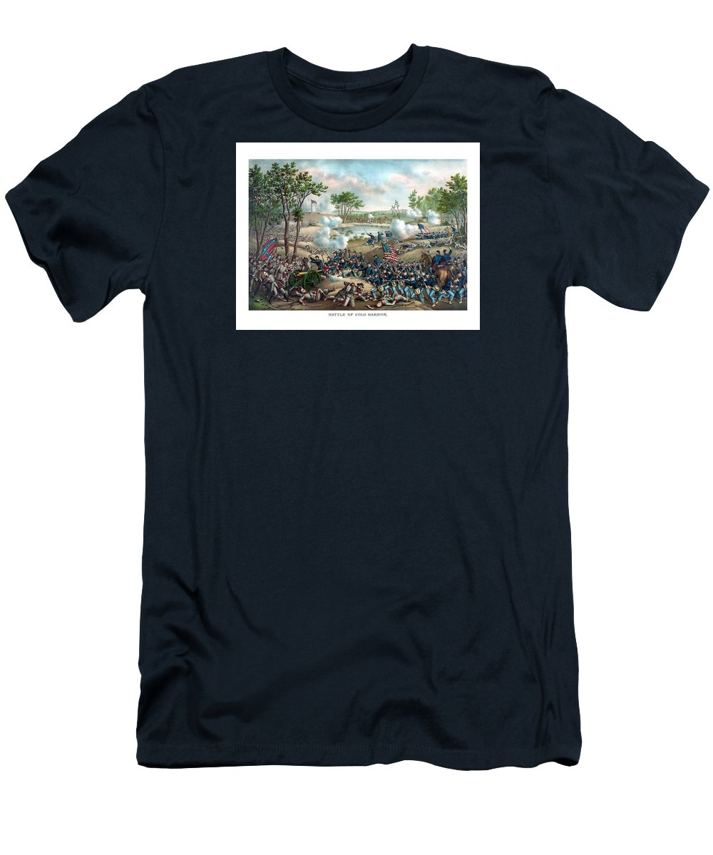 Civil War Men's T-Shirt (Athletic Fit) featuring the painting Battle Of Cold Harbor by War Is Hell Store