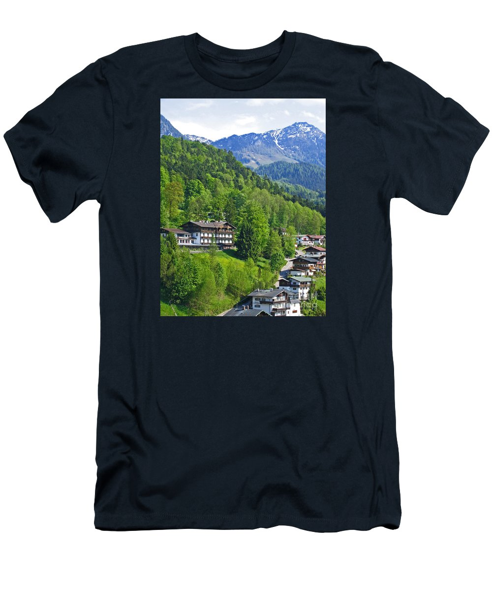 Germany Men's T-Shirt (Athletic Fit) featuring the photograph Bavarian Mountainside by Ann Horn