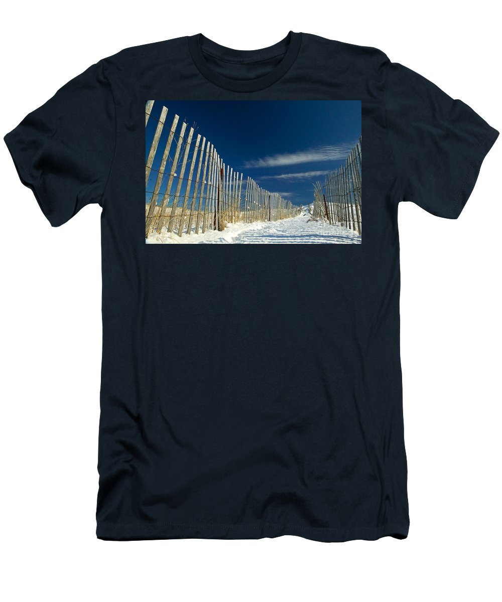 Beach Fence Men's T-Shirt (Athletic Fit) featuring the photograph Beach Fence And Snow by Matt Suess