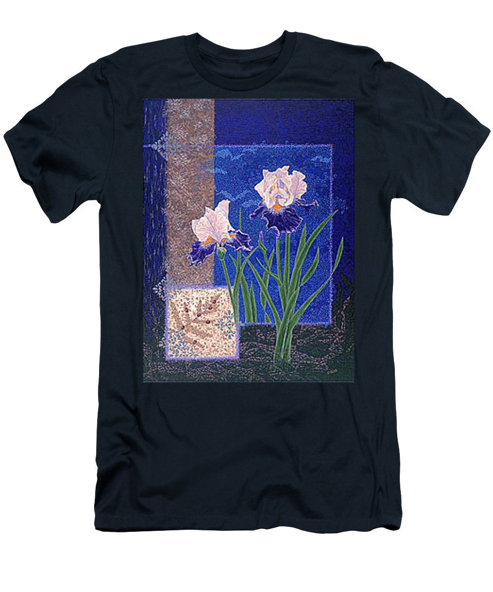 Irises Men's T-Shirt (Athletic Fit) featuring the painting Bearded Irises Fine Art Print Giclee Ladybug Path by Baslee Troutman