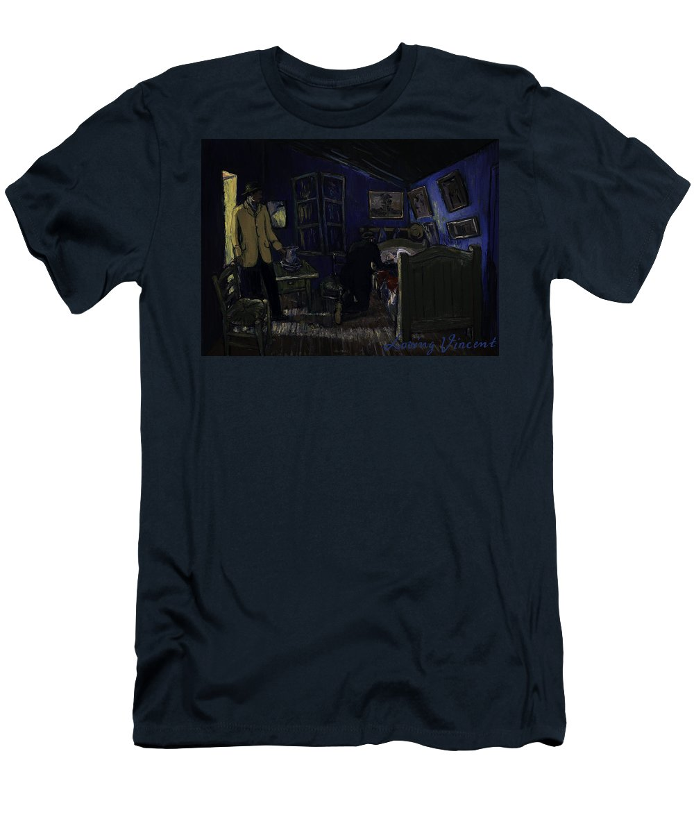 Men's T-Shirt (Athletic Fit) featuring the painting Bedroom In Arles By Night by Jerzy Lisak