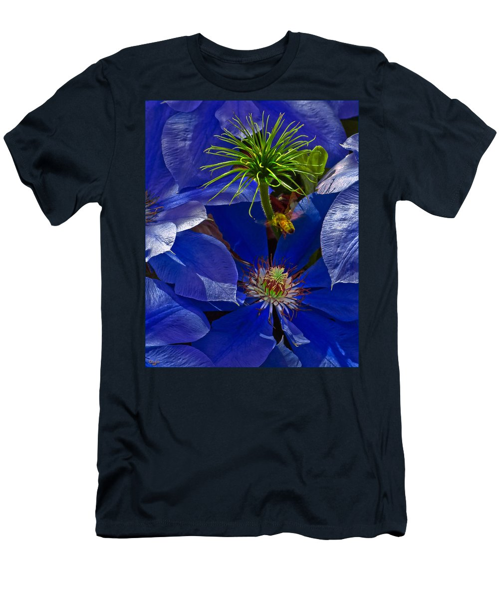 Clematis Men's T-Shirt (Athletic Fit) featuring the photograph Bee Blues by Chris Lord
