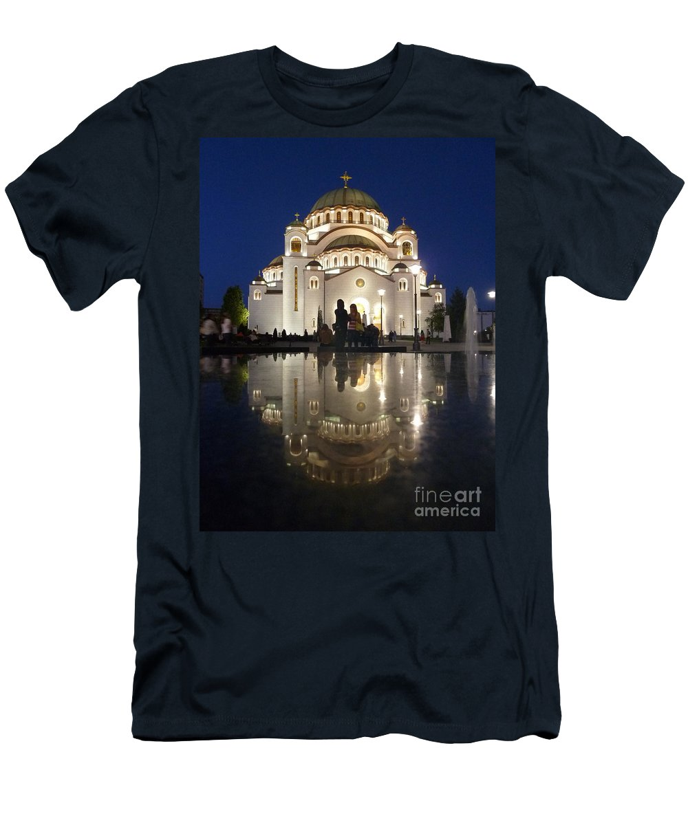 Danica Radma Men's T-Shirt (Athletic Fit) featuring the photograph Belgrade Serbia Orthodox Cathedral Of Saint Sava by Danica Radman