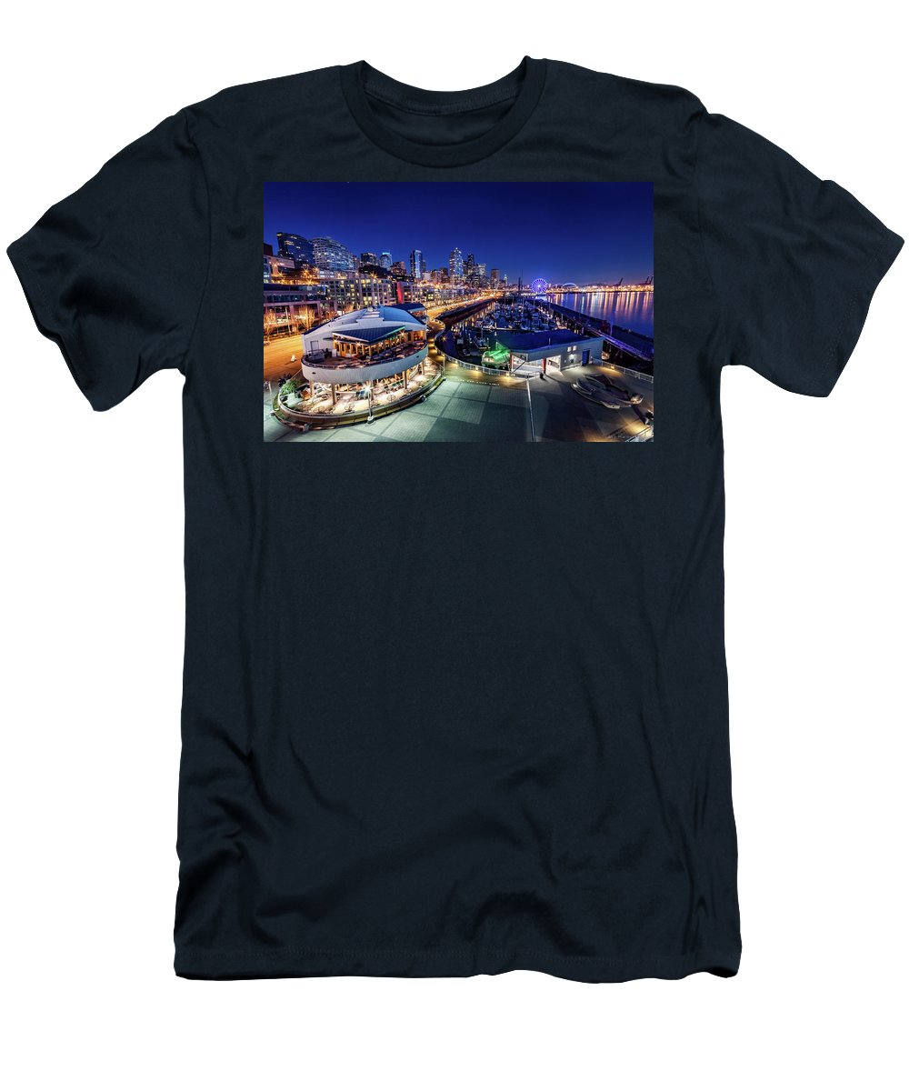 Bell Harbor Men's T-Shirt (Athletic Fit) featuring the photograph Bell Harbor by Jon Reiswig
