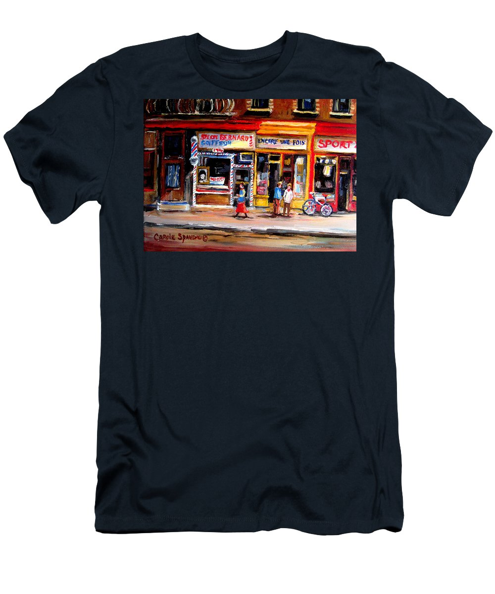 Bernard Barbershop Men's T-Shirt (Athletic Fit) featuring the painting Bernard Barbershop by Carole Spandau