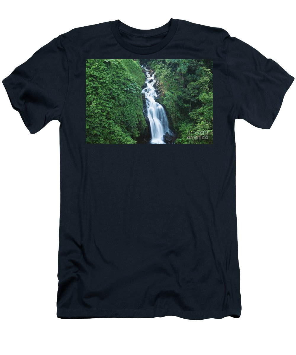 Active Men's T-Shirt (Athletic Fit) featuring the photograph Big Island Watefall by William Waterfall - Printscapes