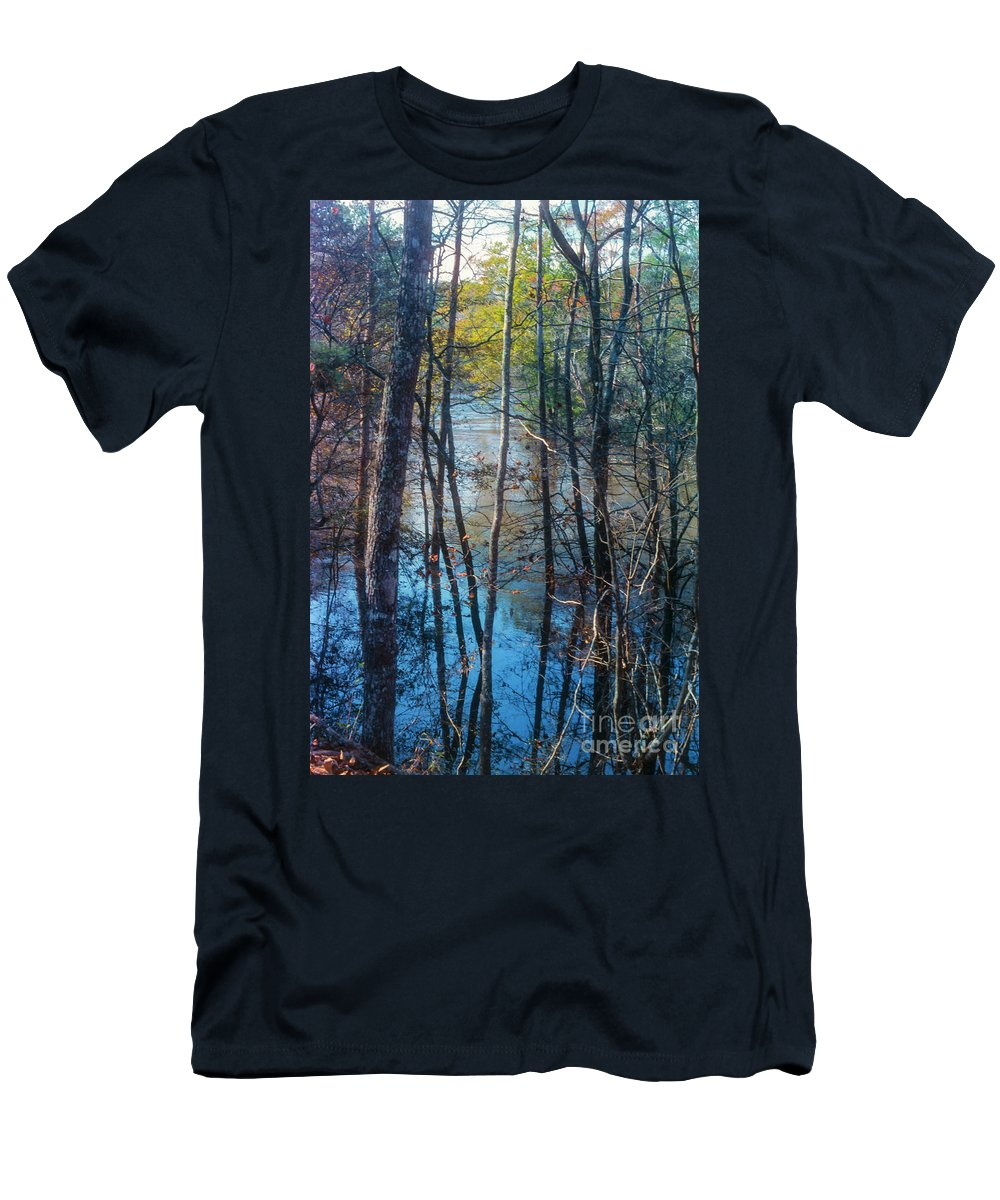 Big Thicket National Preserve Men's T-Shirt (Athletic Fit) featuring the photograph Big Thicket Water Reflection by Bob Phillips