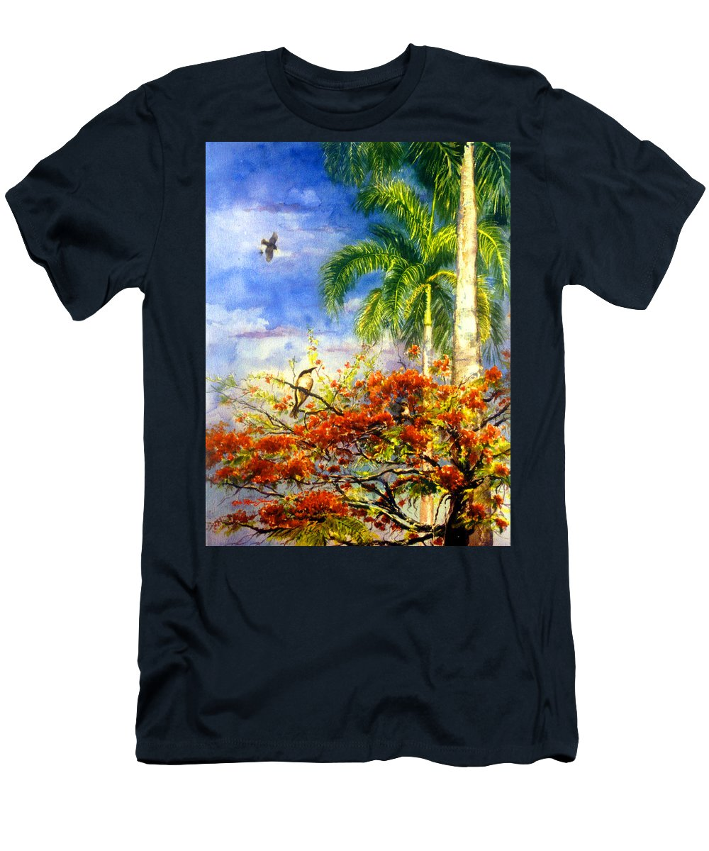 Watercolor Paintings Men's T-Shirt (Athletic Fit) featuring the painting Bird Protected By Her Mother by Estela Robles