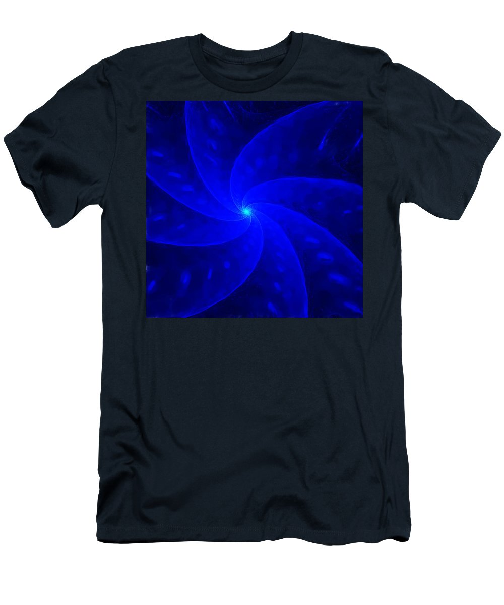 Abstract Men's T-Shirt (Athletic Fit) featuring the digital art Bkue Pinwheel by David Lane