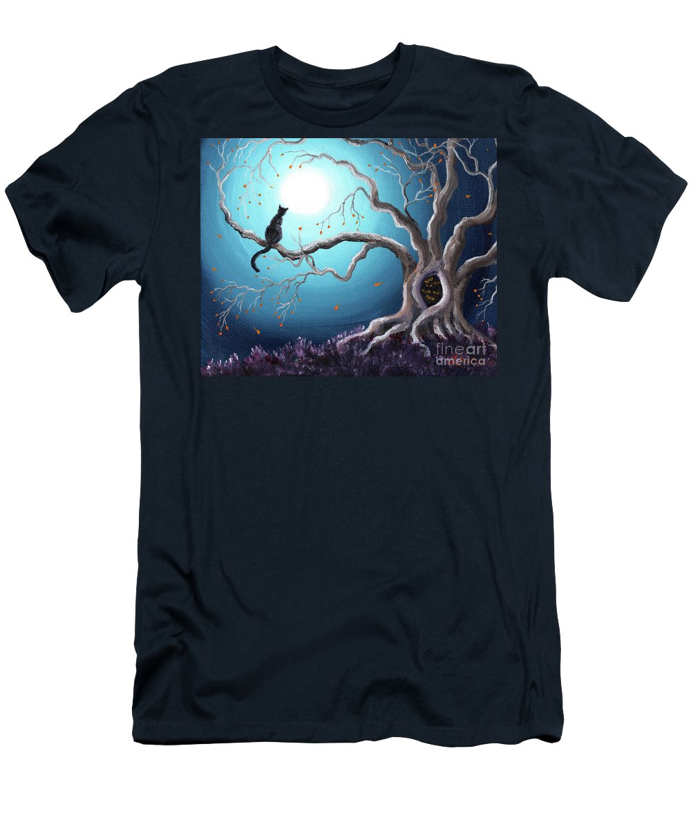 Landscape Men's T-Shirt (Athletic Fit) featuring the painting Black Cat In A Haunted Tree by Laura Iverson