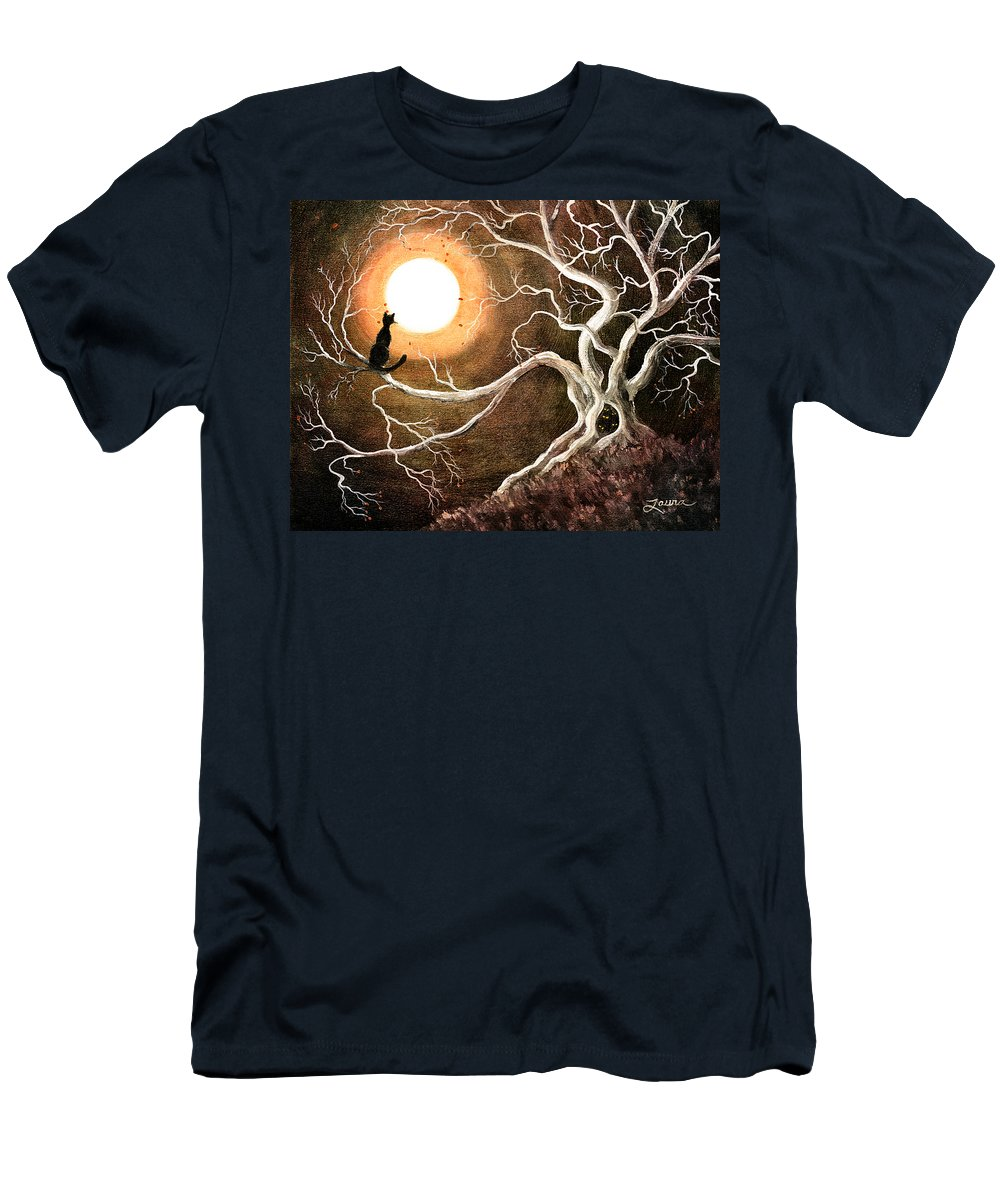 Fantasy Men's T-Shirt (Athletic Fit) featuring the digital art Black Cat In A Spooky Old Tree by Laura Iverson