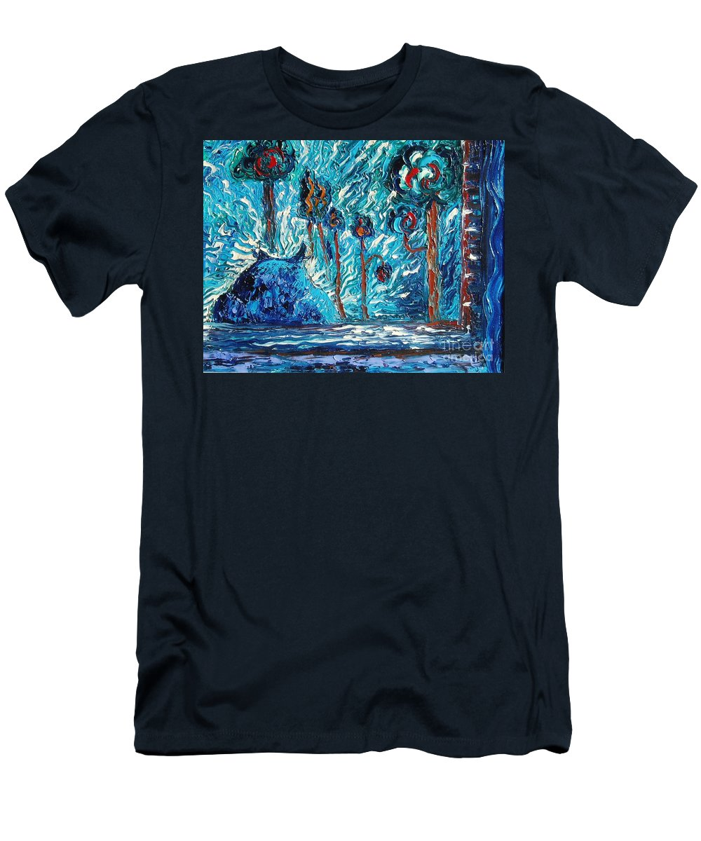 Abstract Cat Paintings Men's T-Shirt (Athletic Fit) featuring the painting Black Cat by Seon-Jeong Kim