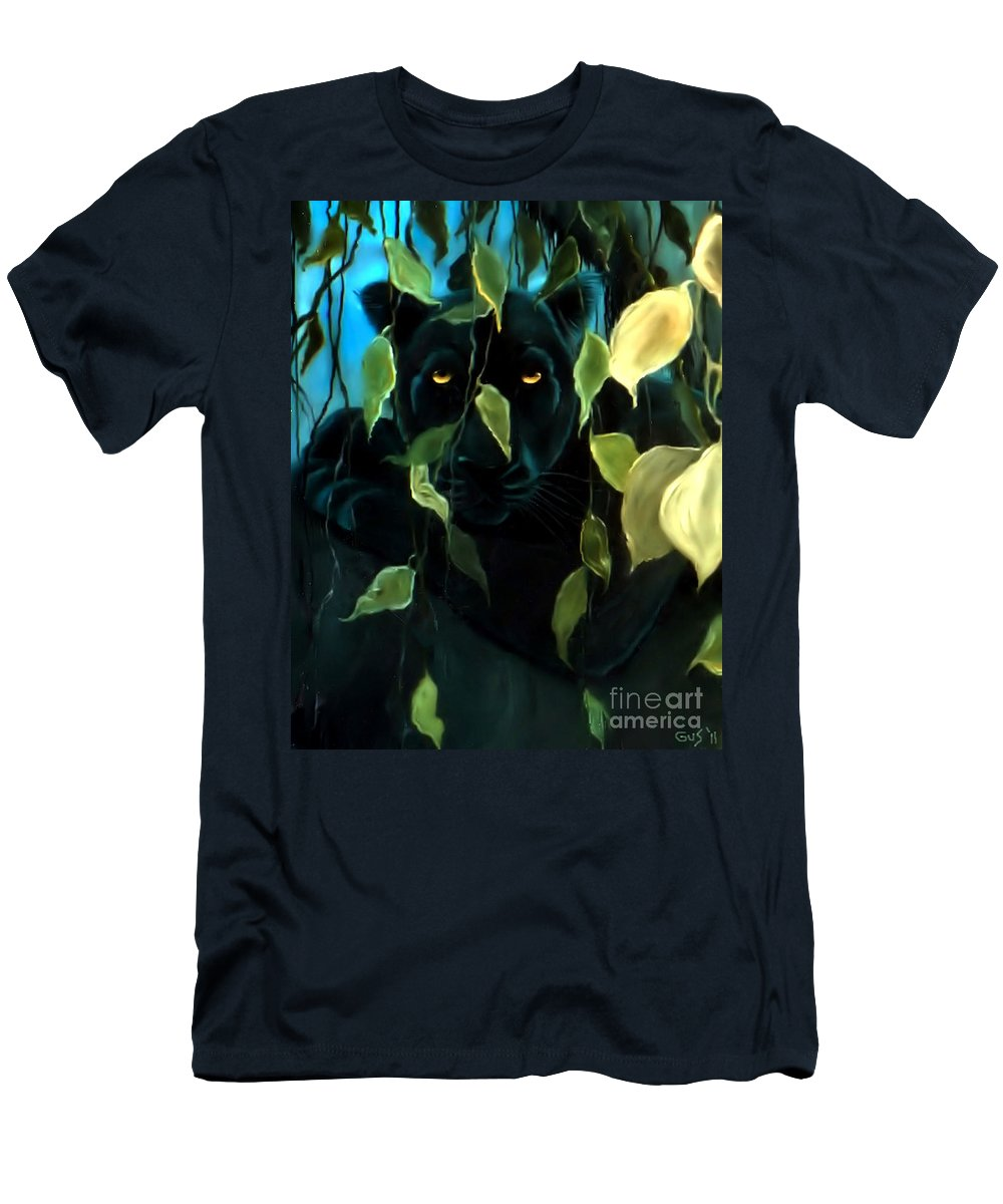 Black Panther Men's T-Shirt (Athletic Fit) featuring the painting Black Panther by Nick Gustafson