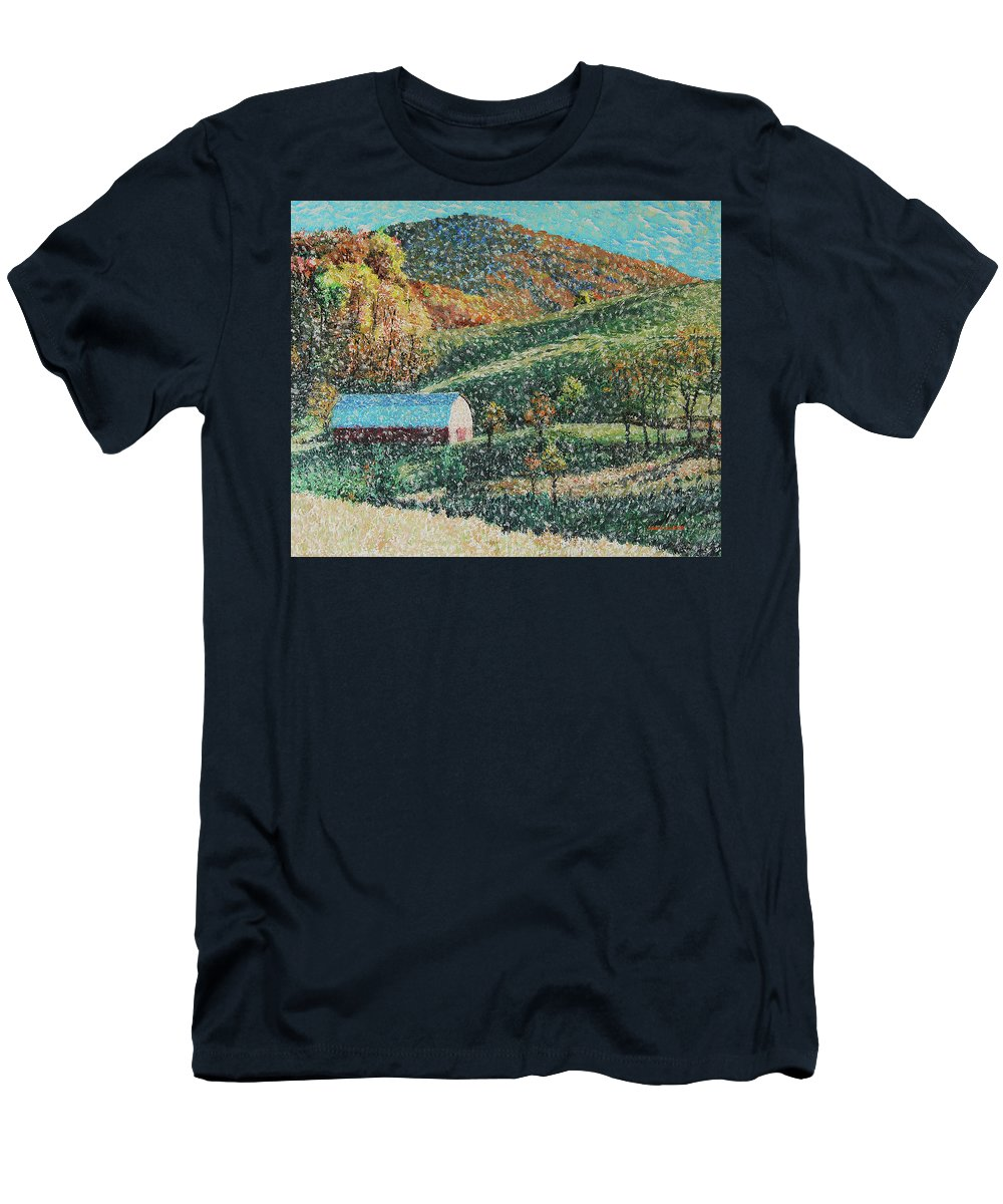 Blowing Rock Men's T-Shirt (Athletic Fit) featuring the painting Blowing Rock Impressionist by Tommy Midyette