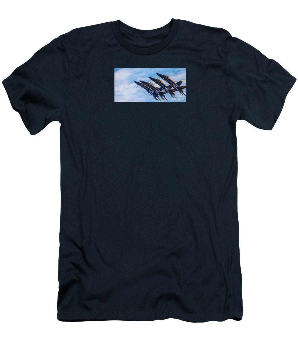 Blue Angels Men's T-Shirt (Athletic Fit) featuring the photograph Blue Angels Ascending by Patrick Dablow