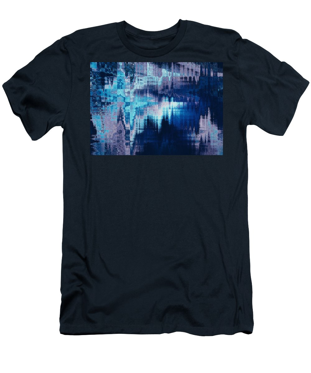 Abstract Men's T-Shirt (Athletic Fit) featuring the digital art blue blurred abstract background texture with horizontal stripes. glitches, distortion on the screen broadcast digital TV satellite channels by Oksana Ariskina