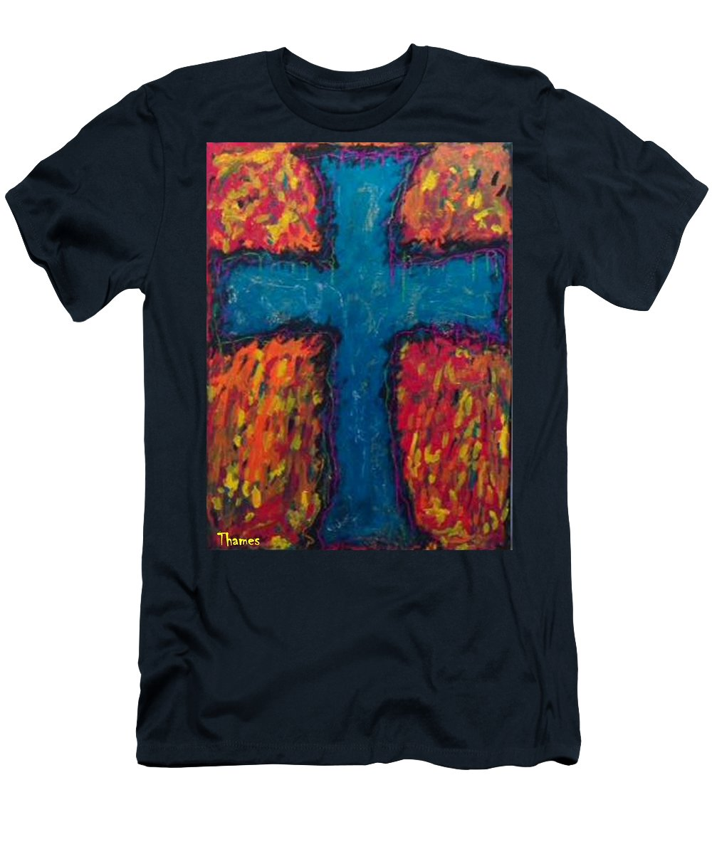 Cross Men's T-Shirt (Athletic Fit) featuring the photograph Blue Cross by Chris Thames