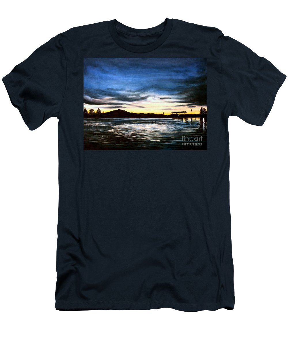 Landscape Men's T-Shirt (Athletic Fit) featuring the painting Blue Diablo by Elizabeth Robinette Tyndall