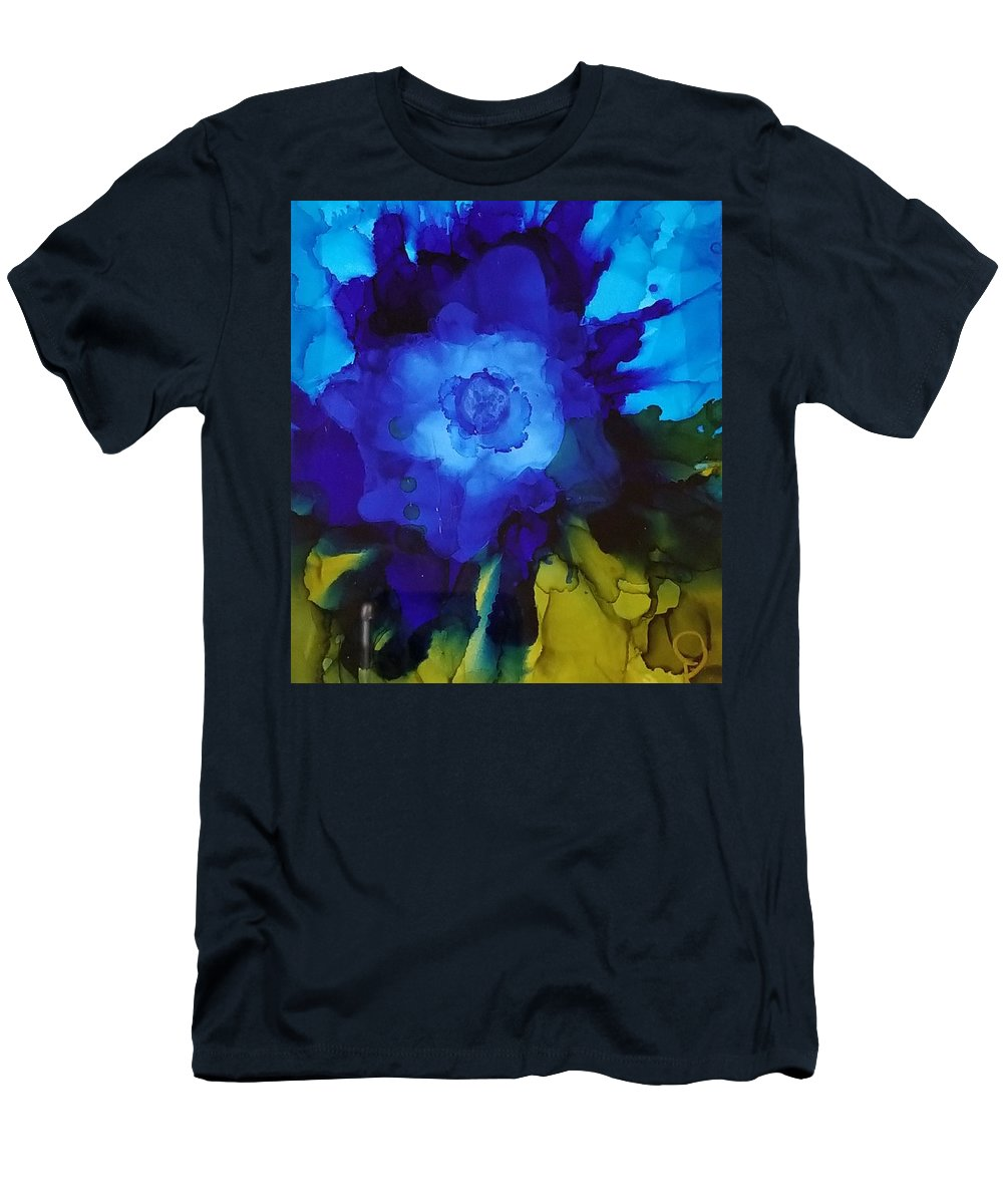 Abstract Men's T-Shirt (Athletic Fit) featuring the painting Blue Flower by Donna Perry