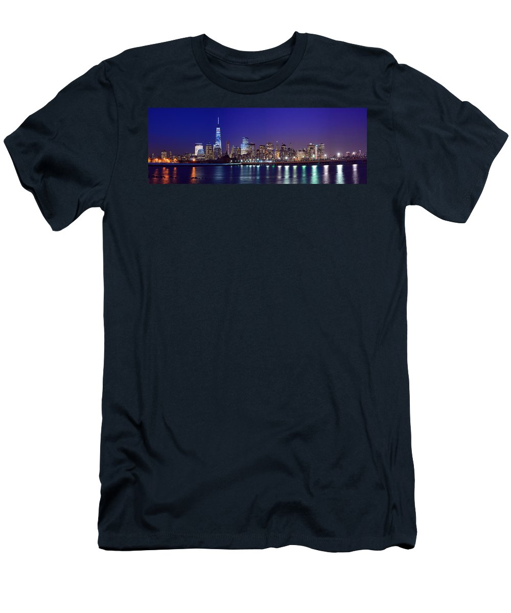 Blue Hour Panorama World Trade Center Men's T-Shirt (Athletic Fit) featuring the photograph Blue Hour Panorama New York World Trade Center With Freedom Tower From Liberty State Park by Raymond Salani III