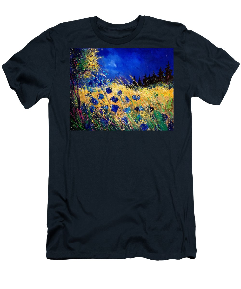 Flowers Men's T-Shirt (Athletic Fit) featuring the painting Blue Poppies 459070 by Pol Ledent
