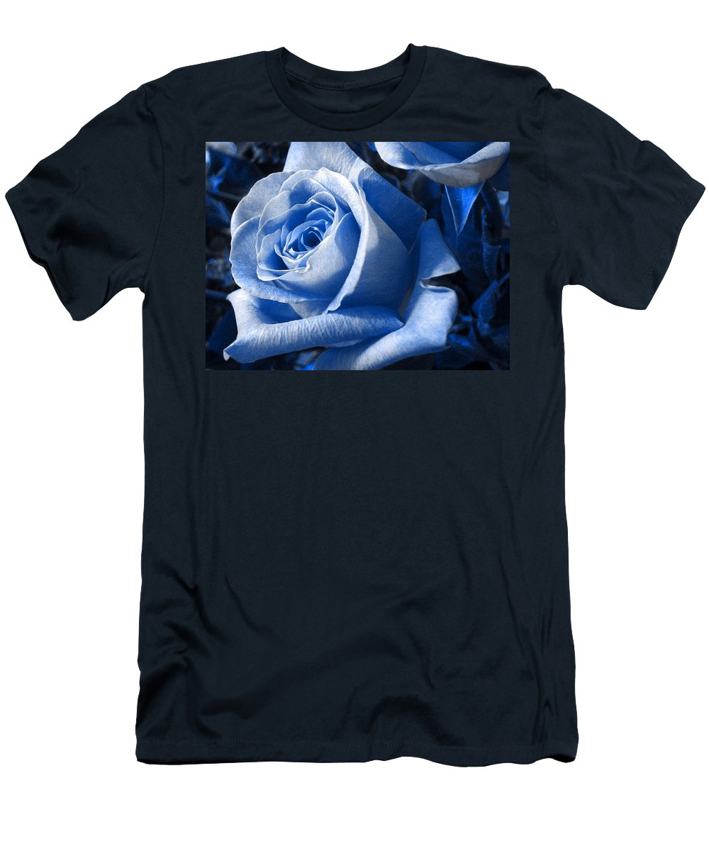 Blue Men's T-Shirt (Athletic Fit) featuring the photograph Blue Rose by Shelley Jones