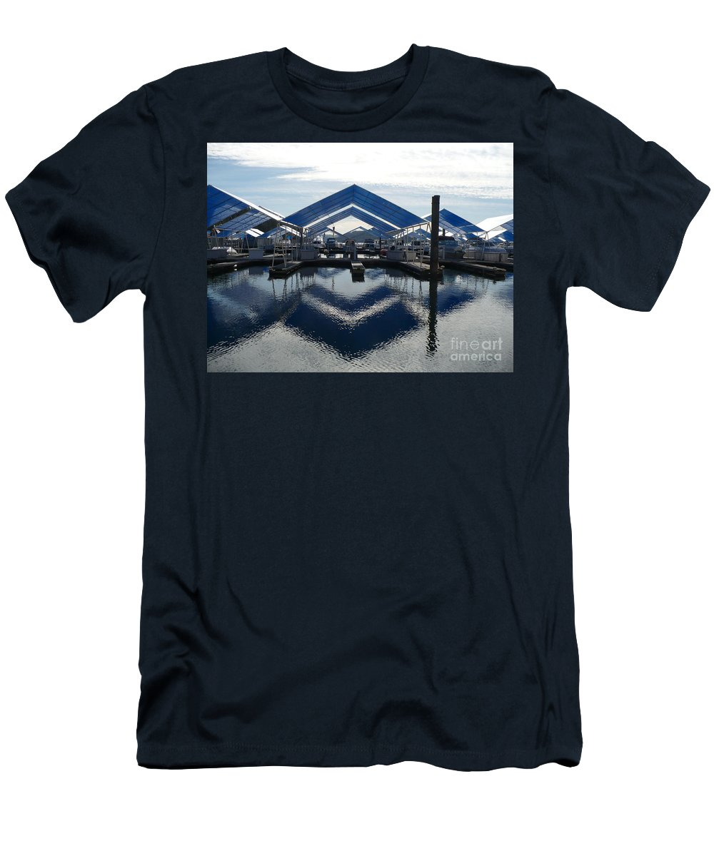 Boats Men's T-Shirt (Athletic Fit) featuring the photograph Boat Reflection On Lake Coeur D'alene by Carol Groenen