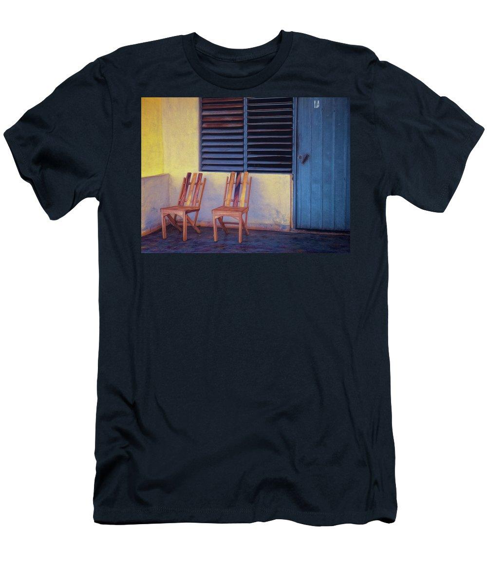 Cuba Men's T-Shirt (Athletic Fit) featuring the photograph Boca De Yumuri Porch by Claude LeTien