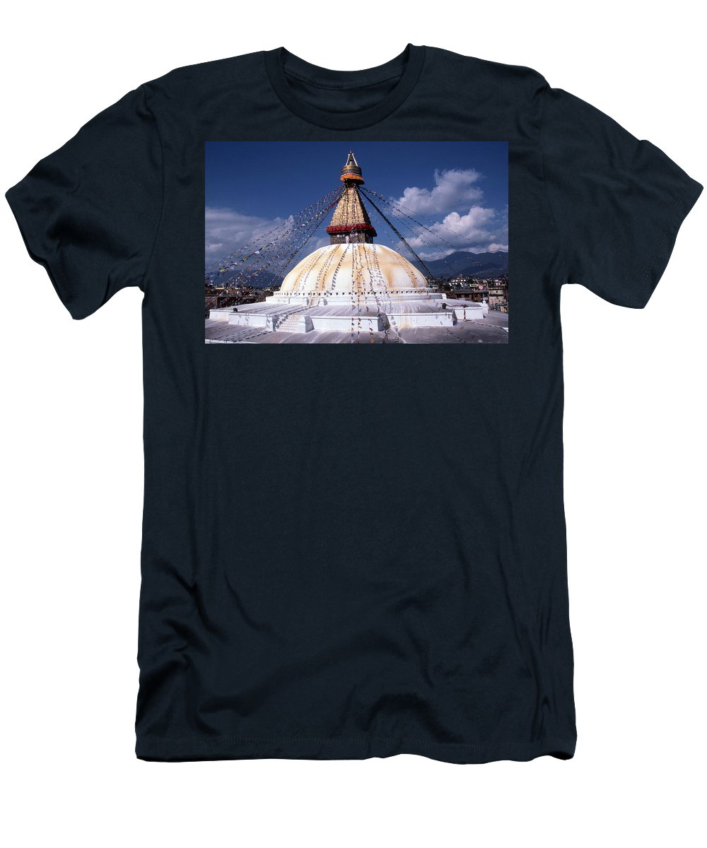 Bodhnath Stupa Men's T-Shirt (Athletic Fit) featuring the photograph Bodhnath Stupa by Patrick Klauss
