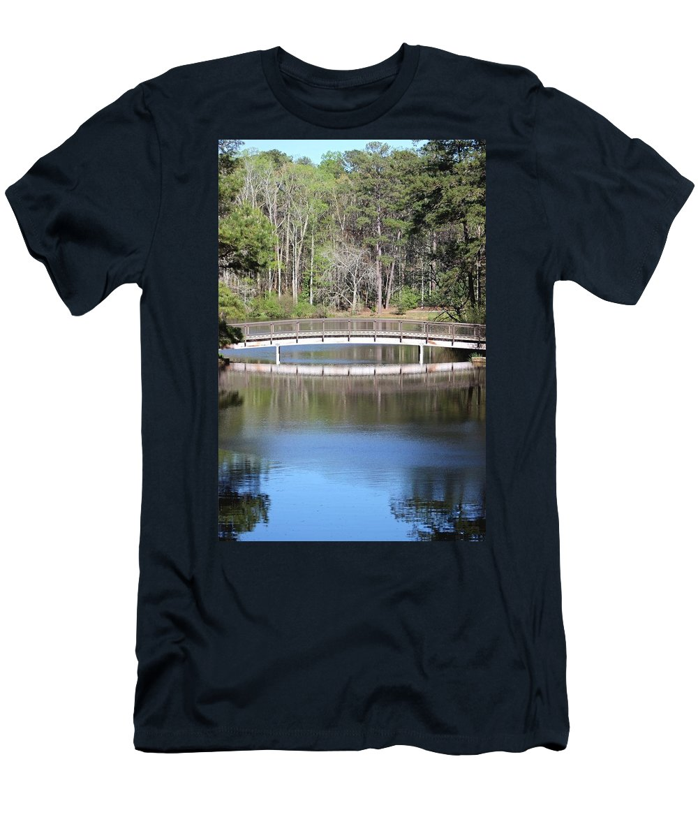 Reflections Men's T-Shirt (Athletic Fit) featuring the photograph Bridge Reflection by Gayle Miller